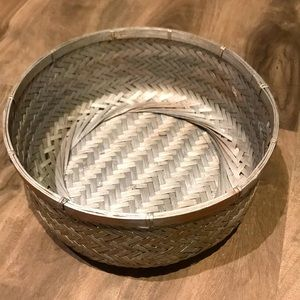 WOVEN BASKET with wood/silver tones